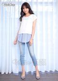 Victoria  真二件式異材質寬鬆短袖T-女-黑/白