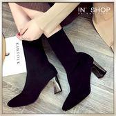IN'SHOP中筒靴-韓款極美顯瘦女伶光澤粗跟美型襪靴 【KF00836】