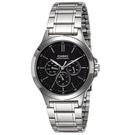 CASIO手錶銀黑三眼不鏽鋼錶NEC161