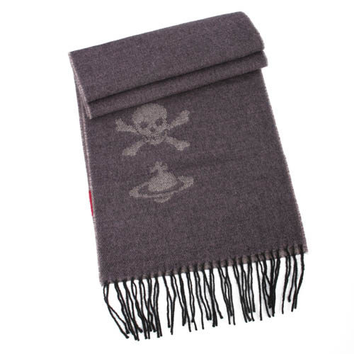 Vivienne Westwood 經典LOGO  骷顱頭圍巾(灰褐色)910523-1