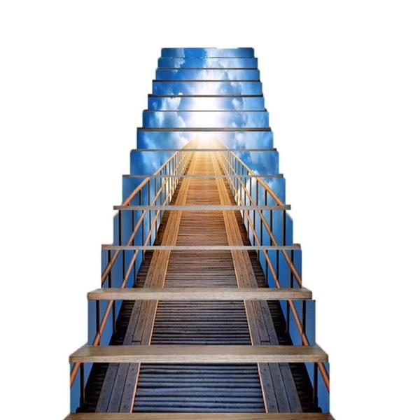 G559夢幻登天樓梯家居樓梯貼紙臺階裝飾3D立體畫13片100*18 熊熊物語