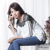 Victoria 蕾絲拼接落肩七分袖T恤上衣-女-白色-Y25034