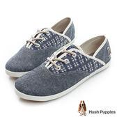 Hush Puppies 鄉村牛仔咖啡紗帆布鞋-灰藍格