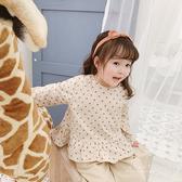 韓系木耳邊圓點襯衫上衣 童裝 長袖上衣