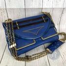 BRAND楓月 Chloe 寶藍異材質拼接鍊包 斜背包 肩背包 側背包 金鍊 黑線條 金屬圖形造型 寶藍色