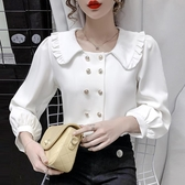 現貨寄出 秋冬新款減齡氣質娃娃領襯衫女設計感小眾百搭長袖打底衫上衣