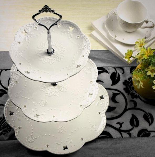 歐式陶瓷三層水果盤糕點盤下午茶點心盤大蛋糕架甜品台展示架擺件聖誕節提前購589享85折