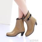時尚韓國氣質高跟女雨鞋冬款中筒雨靴加絨加...