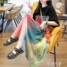 大碼短袖洋裝 彩虹短袖t恤裙女夏裝大碼中長款韓版寬鬆假兩件網紗拼接連身裙潮 阿薩布魯