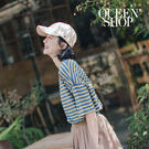 Queen Shop【01037780】童趣配色條紋圓領棉T 三色售*現+預*
