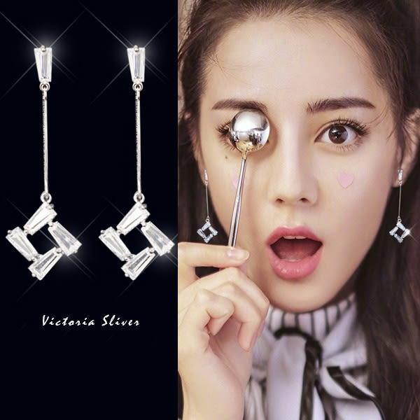 925純銀針  韓國優雅氣質   方形水鑽耳環-維多利亞181230