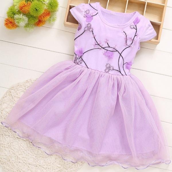 女童短袖洋裝 蕾絲連身裙 紗紗裙 小禮服 小女孩洋裝 SG19 好娃娃