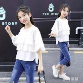 女童夏裝T恤2019新款休閒女孩洋氣短袖寬鬆上衣 QW3105『夢幻家居』