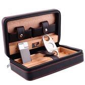 COHIBA高希霸雪茄盒便攜式旅行套裝四支裝皮質雪松木雪茄保濕煙盒