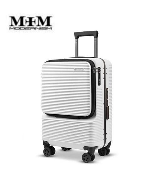 MOM JAPAN 19吋 MODERNISM 前開式多功能電腦商務旅行箱/登機箱-白