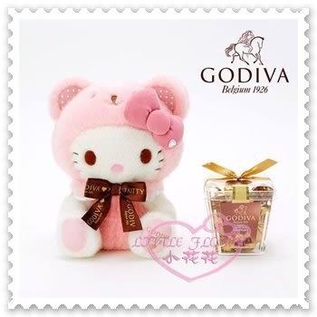 ♥小花花日本精品♥Hello Kitty x Godvia 品牌合作情人節限定坐姿布偶附巧克力全球限量 (預購)