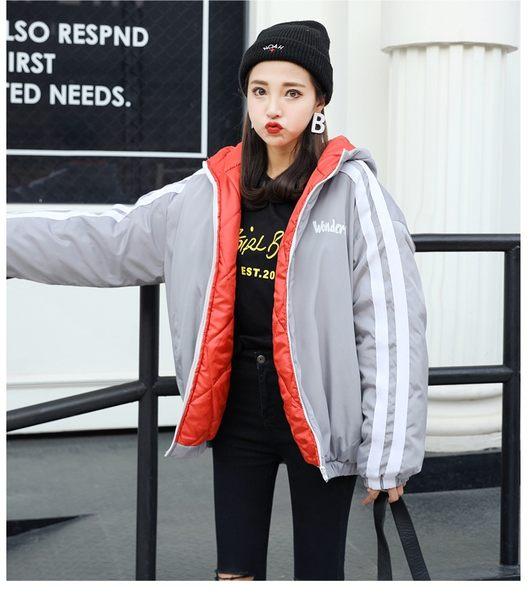 2018新款原宿貼布情侶連帽外套 女士加厚保暖棉衣 女學生寬松棉服外套 冬季女士加厚保暖棉衣