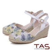 ★2018春夏新品★TAS 鳳梨水鑽草編楔型涼鞋-優雅白