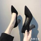 粗跟單鞋OL高跟鞋2020新款春季韓版百搭尖頭法式少女一腳蹬淺口性感 LR21085『毛菇小象』