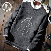 秋冬季韓版潮流個性新款學生保暖厚款外套圓領毛衣男士上衣針織衫 依夏嚴選