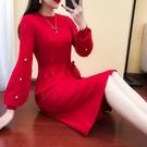 紅色洋裝 2018秋冬新款長款毛衣女針織連身裙燈籠袖長裙子