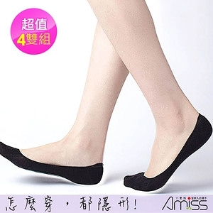 【Amiss】MIT純棉無縫合防滑隱形襪/2黑2灰-4入組(M006)