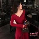 拜年服 過年衣服女裝小香風新年紅色拜年內搭針織長裙打底洋裝子女秋冬T 2色S-XL