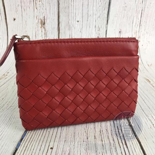 BRAND楓月 Bottega Veneta BV 紅色 小羊皮 編織 經典編織造型 拉鍊零錢包