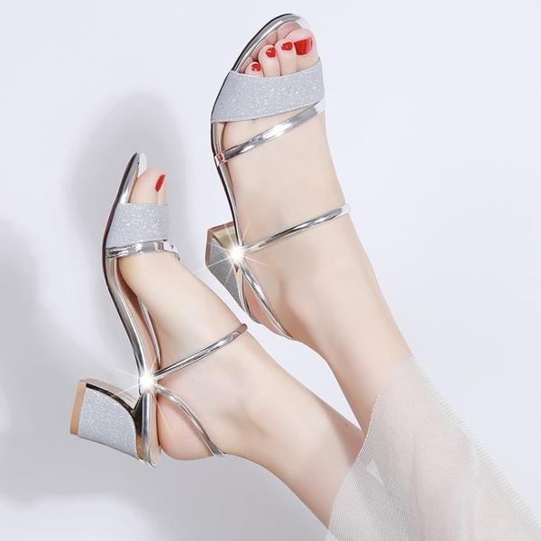 高跟鞋 拖鞋女兩穿夏2019新款正韓粗跟百搭外穿港味高跟仙女晚晚涼鞋【快速出貨】