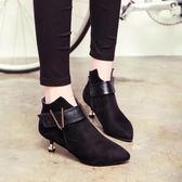 2018秋冬新款 歐美細跟短靴低跟尖頭裸靴中跟深口女鞋小跟馬丁靴  初見居家