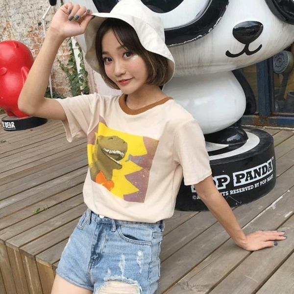 [超豐國際]夏裝短袖t恤女體恤卡通印花上衣女學生圓領打底小衫1入