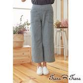 【Tiara Tiara】百貨同步  復古風直條紋雙口袋長褲(藍條紋/黑條紋)