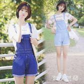 少女寬鬆學院風短袖T恤韓版牛仔背帶短褲新款春夏季吊帶褲 QQ20742『MG大尺碼』
