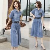 牛仔裙牛仔洋裝M-3XL新款氣質收腰遮肚子顯瘦長裙大碼裙子S09.8901號公館
