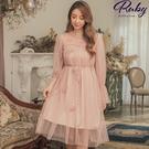 洋裝 立體花朵網紗綁帶長袖洋裝-Ruby...