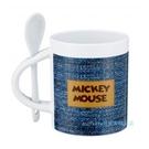 asdfkitty可愛家-內海產業 米奇牛仔陶瓷馬克杯-350ML-附湯匙-深藍色-日本正版商品