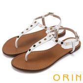 限時特賣-ORIN 夏日時尚風 個性鉚釘T字牛皮夾腳涼鞋-白色