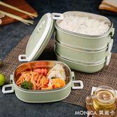 304不銹鋼保溫飯盒1人上班族帶飯的飯盒日式便當盒成人3多層三層 莫妮卡小屋