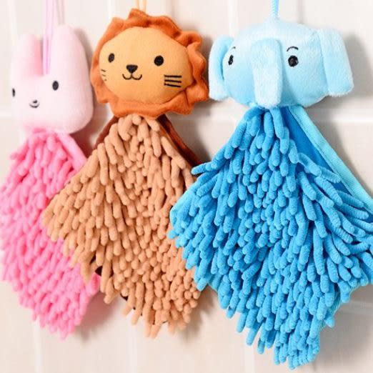 預購-可愛卡通動物頭雪尼爾擦手巾/方巾