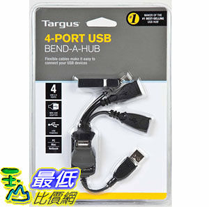 [美國直購 ShopUSA] 適配器 Targus 4-Port USB 2.0 Bend-A-Hub with Mini-USB Adapter ACH103US1 (Black) $941
