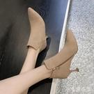 裸靴女秋季2019新款馬丁靴踝靴細跟百搭網紅高跟鞋冬天瘦瘦小短靴 OO46『毛菇小象』