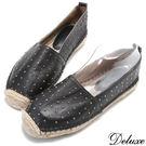 Deluxe-美式時尚珠珠草編漁夫鞋-黑