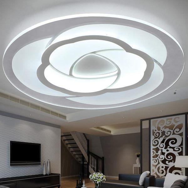 110V臥室 圓形LED客廳燈 現代簡約溫馨餐廳遙控燈房間燈具吸頂燈YGCN