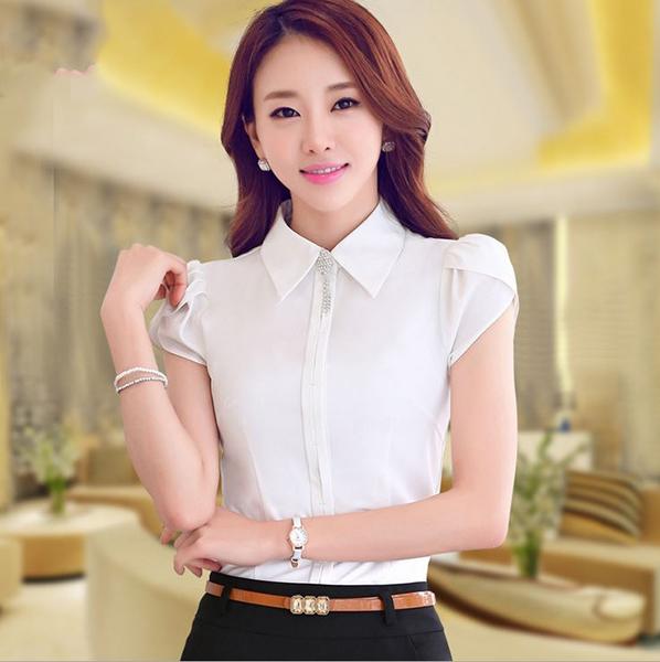 短袖OL襯衫~*艾美天后*~白襯衫職業女裝商務面試裝正裝工作服辦公襯衫