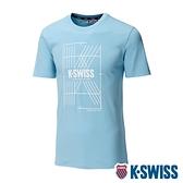 K-SWISS Stripe K Logo Tee棉質吸排T恤-男-水藍