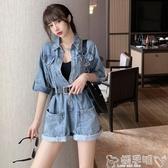 雙11連身褲小雨姐姐女團C位出道夏季一件式工裝牛仔連體褲短褲女套裝