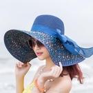 遮陽帽沙灘草帽子女夏天海邊大帽檐防曬遮陽出游度假百搭大沿涼帽太陽夏 町目家