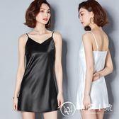 新款夏季性感V領吊帶裙打底裙女緞面黑色內搭背心襯裙百搭中長款
