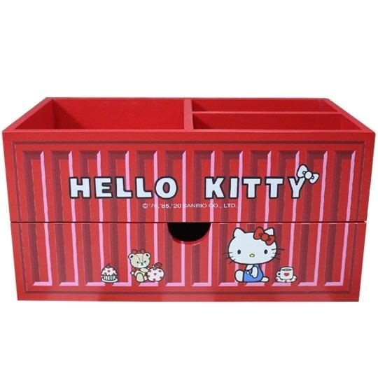 小禮堂 Hello Kitty 木製收納盒 橫式 單抽 三格 抽屜盒 置物盒 筆筒 貨櫃造型 (紅) 4710374-18644