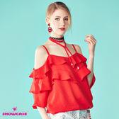 【SHOWCASE】唯美露肩細肩綁帶荷葉領縮腰上衣(紅)